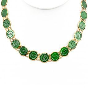 18K Gold jadeite coin shape disc necklace