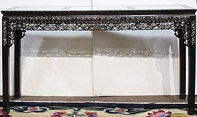 Chinese mother-of-pearl and marble inset hardwood altar table