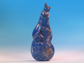 Chinese carved lapis lazuli snuff bottle double gourd from