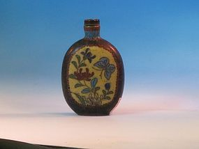 antique  cloisonné enameled metal bottle