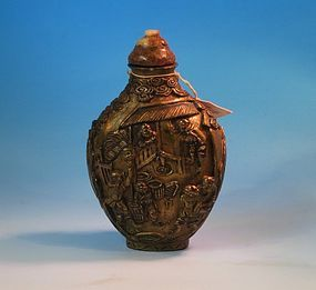 Gilt enameled snuff bottle Qianlong mark