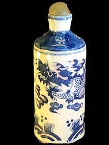 Large blue and white porcelain dragon snuff bottle