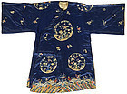 A woman's embroidered blue silk informal robe