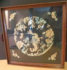Antique Chinese embroidered tea tray with phoenix and bats