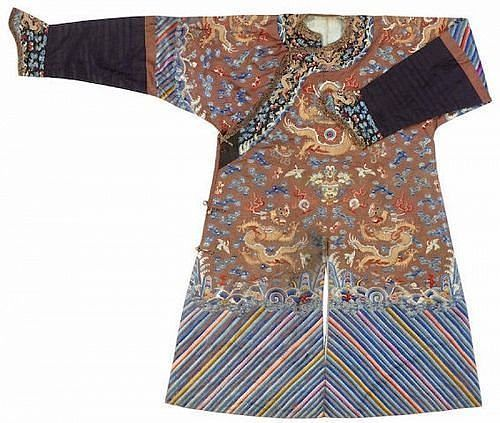 An embroidered russet silk ground dragon robe