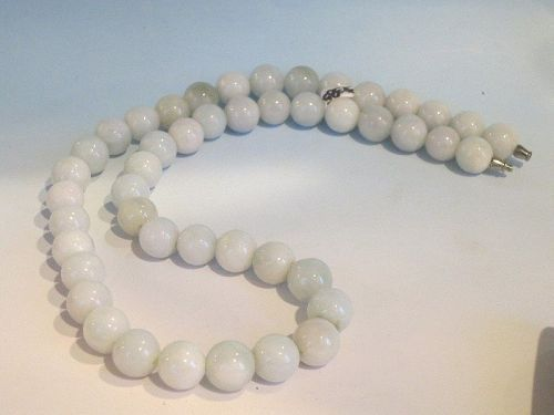 Chinese vintage jadeite lavender bead necklace