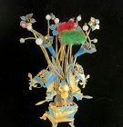 """10"""" Chinese antique kingfisher feather hair ornament flower basket"""
