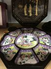 Antique Chinese lacquer box with enameled sweet treat dishes