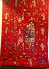 Chinese antique embroidered red panel