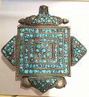 Tibetan old silver Gau prayer box pendant turquoise inlay