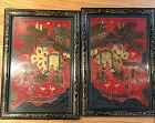 A pair of Chinese red wooden panels