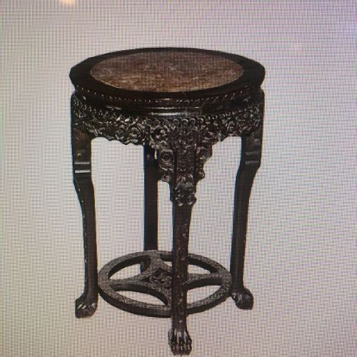 "Heavily Carve Chinese  rosewood flower stand with Marble top 32"" x 23"""
