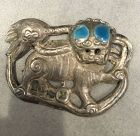 Antique Chinese silver enameled Foo Dog ornament