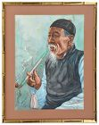 Chinese watercolor, Man smoking pipe, signed Ling
