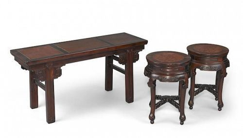 A burl wood inlay hongmu table and two stools