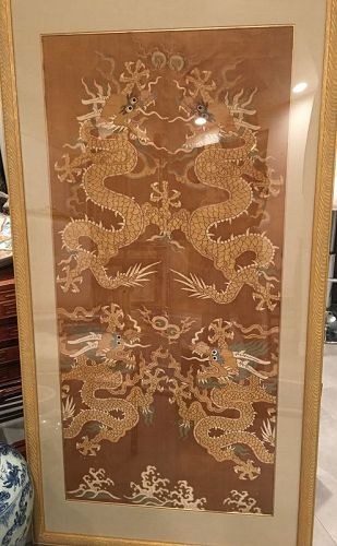 A Qing  Dynasty silk waven Sino- Tibetan yellow background dragon