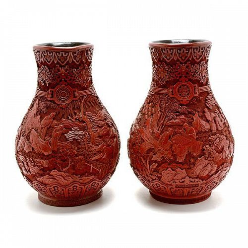 19th Century A Pair of Cinnabar Lacquer Vases