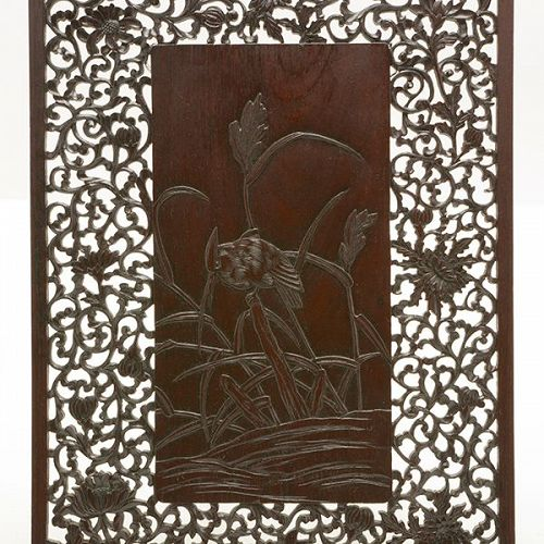 A Zitan or Rosewood carved Panel