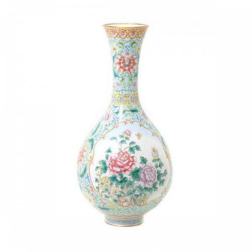 A Large Painted Enamel Vase