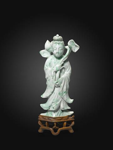 antique jadeite carved figure of a beauty