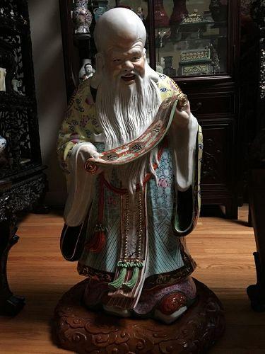 Large porcelain sculpture of the God of longivity