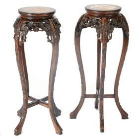 Pair of Rosewood Flower Stands with Marble Inset