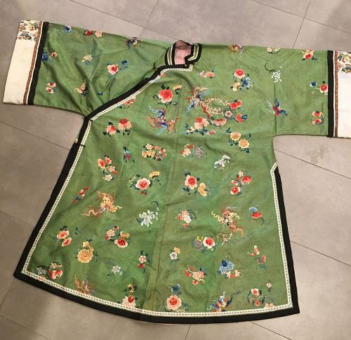 Antique Chinese Silk Robe With butterflies