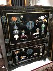 Chinese cloisonne and soapstone inlay storage cabinet