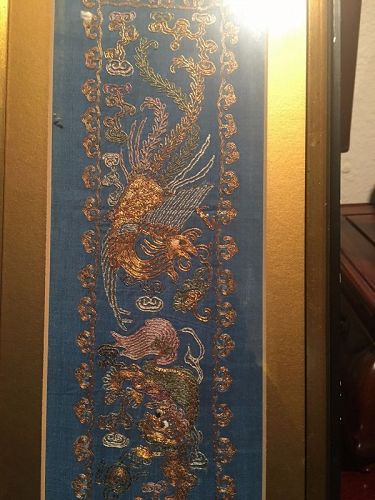 gold color thread double dragon frame panel