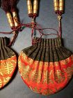 pair of antique Chinese silk embroidered sachet He bao