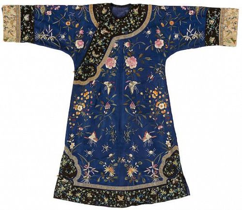 Lady's EMBROIDERED BLUE BROCADE INFORMAL ROBE 19th Century