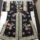Chinese antique vintage embroidered silk woman's robe