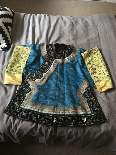 Antique Chinese woman's ebroidered blue informal robe