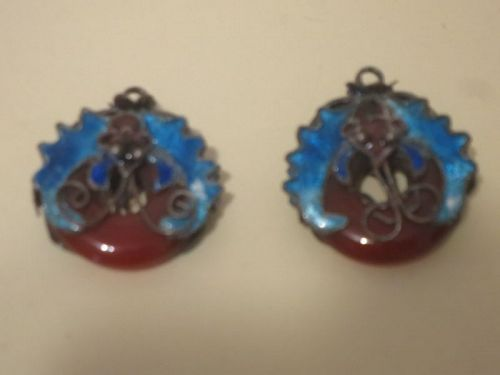pair of enamel and agate butterfly pendant or earrings