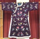 Antique Chinese woman's embroidered purple nformal robe
