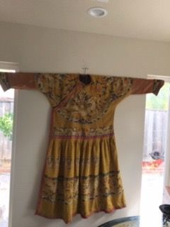 Chinese yellow Kesi court robe with dragon design