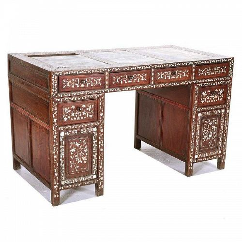 Rosewood Desk with Marble Tops and Mother-of-Pearl Inlay