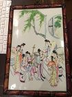 Vintage Chinese porcelain panel of maidens in the garden