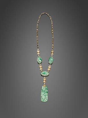 A 14K gold and Jadeite necklace