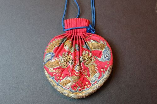 antique Chinese silk embroidered sachet He bao