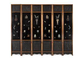 Chinese Jade mounted six-panel hardwood screen