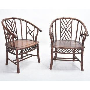 Pair of Chinese Bamboo Simulated Rosewood Armchairs