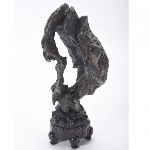 Chinese Lingbi Stone Scholar's Rock with Base