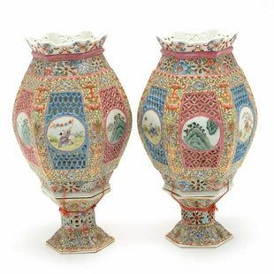 Pair of Chinese Pierced Porcelain Wedding Lanterns