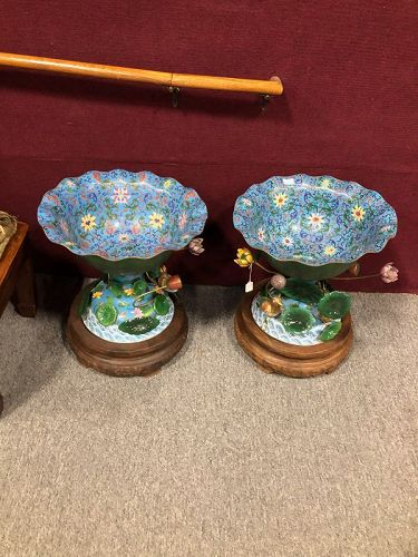 "Pair of large Chinese Cloisonne "" Lotus"" bowls on carved wood base."