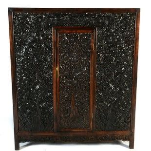 Chinese Finely Carved Hard Wood 'Dragons Amidst Cloud' Cabinet