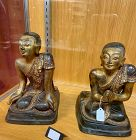Two Bronze with inlaid embellishment Kneeling Buddhist Disciples.