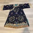 Chinese antique embroidered Mid night blue ground Lady's informal robe
