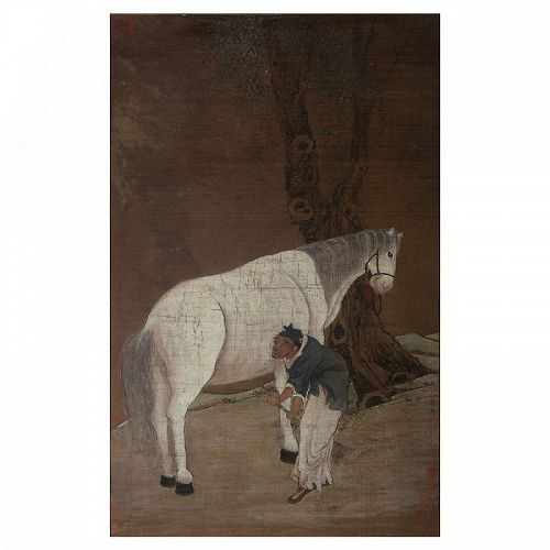 "Han Gan  (Chinese 706 - 783 AD, Tang Dynasty): ""Man Herding horse""."
