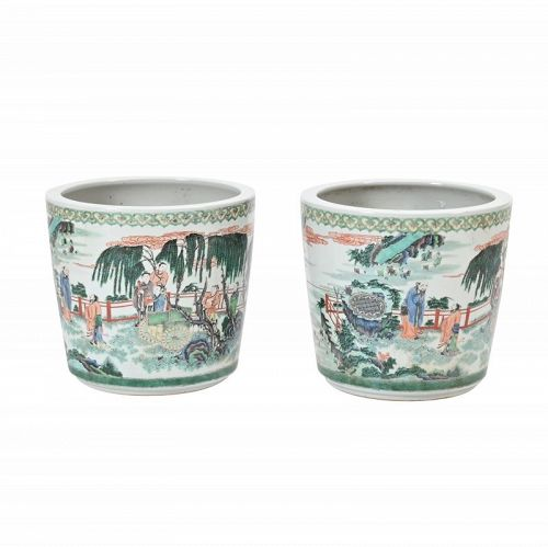 Pair of Chinese Famille Verte Figural Flower Pots